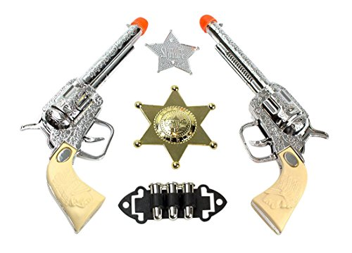 "Imprints Plus Children's 7"" PC Western Cowboy Gun Set White and Chrome Finished Includes a Gold Badge and 1 Faux Statue of Liberty Million Dollar Bill"