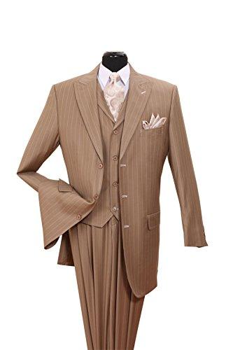 Fortino Landi Pinstripe Design High Fashion Suit with Vest (Tan Pinstripe Suit)