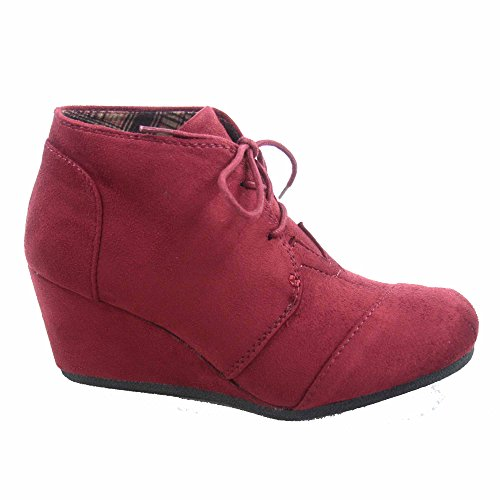 Patricia Forever Booties Shoes Ankle up Oxford Women's Low Lace Burgundy 1 Link Wedge Casual 5rwxAqrZR