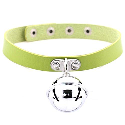 EERLLZ Trendy Velvet Choker Necklace Bowknot Bells Chocker Handmade Boho Gothic Costume Jewelry green