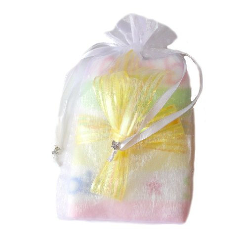 Jacqui's Unisex Baby Miracle Baby - Keepsake Receiving Blanket, Yellow Bow Pastel Stripe Baby Blanket