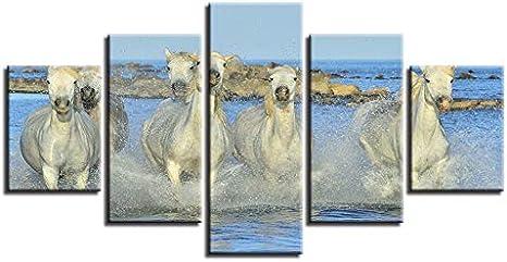 LVGUMM Cuadro En Lienzo 200X100cm 5 Panel Caballo Blanco Animal Corriendo En El Agua Imágenes De Impresión De Arte Cartel Modular Moderno Fondo De Pantalla Sala De Estar del Hogar Cuarto De Los Niños