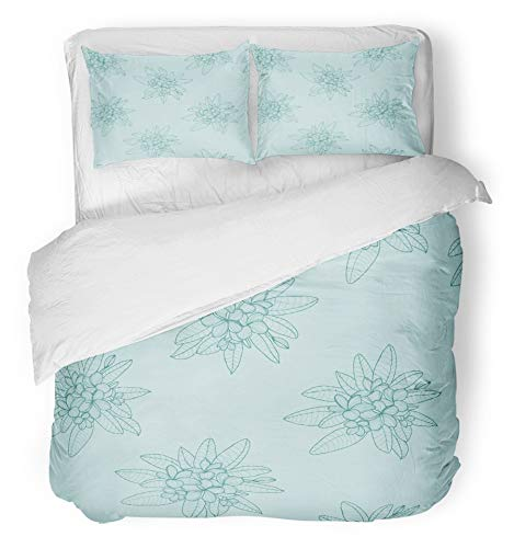 Emvency 3 Piece Duvet Cover Set Brushed Microfiber Fabric Breathable Beautiful of Floral Hawaii Flower Frangipani and Leaves Plumeria on Green Bedding Set with 2 Pillow Covers Full/Queen Size