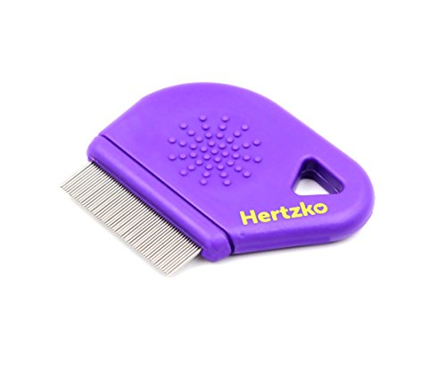 Hertzko Flea Comb By Closely Spaced Metal Pins Removes Fleas, Flea Eggs, And Debris From Your Pet's Coat - 10mm Metal Teeth Are Great For Short Hair Areas - Suitable For Dogs And Cats! by Hertzko (Image #1)