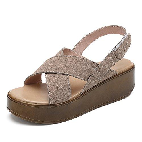 A Chaussures Décontractée femmes Flat femmes Été Cuir Shoes À Etudiant En Chunky Sandales sandales Plateforme 7186q
