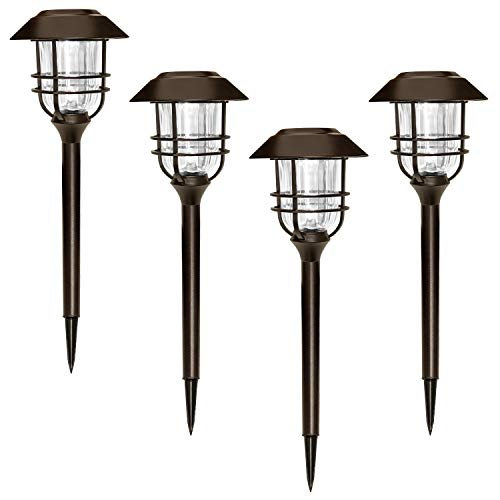 SUNWIND Outdoor LED Solar Lighting - 4 Pack Bronze Outdoor Path Lighting LED Solar Powered Garden Landscape Lamp Die Casting Aluminum Patio Pathway Clear Glass Heavy-Duty for All Weather (Bronze)