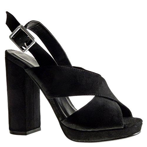 Angkorly - Zapatillas de Moda Sandalias Mules zapatillas de plataforma abierto mujer tanga Hebilla Talón Tacón ancho alto 12 CM - Negro
