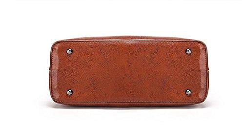 Gran Bolso Meaeo Con Moda La Bolso Bolso Señoras brown Capacidad Nuevo Oxblood Bolso Rojo UraHUz1