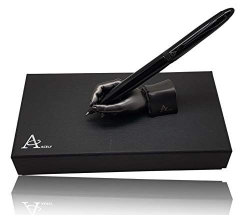 ACELY Executive Glossy Black Ball Point Pen with Hand Shape Pen Holder Metal Art Craft Paperweight for Desktop Organizer Pen Stand Decoration - Pen & Holder Set (Black & Satin Black)