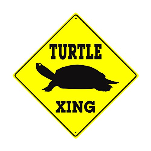 - Turtle Xing Crossing With Graphic Caution Slow Animal Toitoise Funny Novelty Road Wall Décor Diamond Metal Aluminum 12