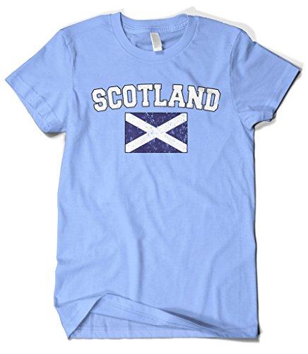 Cybertela Men's Faded Distressed Scotland Flag T-Shirt (Light Blue, 4X-Large)
