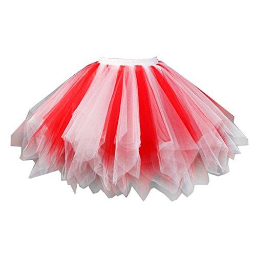 Topdress Women's 1950s Vintage Tutu Petticoat Ballet Bubble Skirt (26 Colors) Red White XXL/XXXL