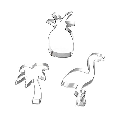 (XYBAGS Tropical Cookie Cutter Set - 3 Piece - Pineapple, Flamingo, Palm Tree, Cookie Cutters Molds for Summer or Beach Theme Parties Supplies)