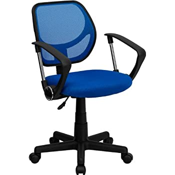 blue task chair. Flash Furniture Mid-Back Blue Mesh Swivel Task Chair With Arms