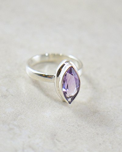 Marquise Design - SIVALYA Marquise Purple Amethyst Ring in 925 Sterling Silver, Size 6, Exquisite Handcrafted design in Solid Silver, Great Gift for her