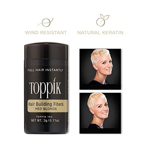 Toppik Hair Building Fibers, Medium Blonde, 3 g (Dark Brown Hair With Blonde In Front)