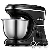Kealive Stand Mixer, 8 Speed 700 Watt Kithchen Mixer with 5-Quart Stainless Steel Bowl, Dough Hooks, Whisk, Beater, Pouring Shield, Dough Mixer, Black