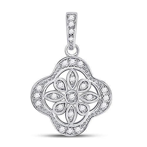 Dazzlingrock Collection Sterling Silver Womens Round Diamond Clover Starburst Fashion Pendant 1/10 -