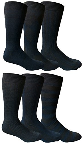 Yacht&Smith 6 Pairs Mens Dress Socks, Textured Solid Colors, Premium Knit (6 Pairs Navy) (Navy Color Suit Shoes)
