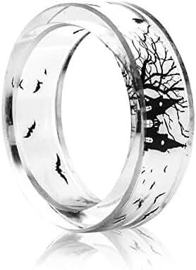 New Arrival Handmade Castle & Bat Transparent Resin/Plastic Women/Men's Charm Ring