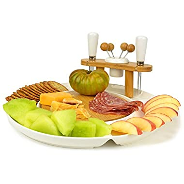 White Ceramic & Bamboo Wood Party Platter Serving Set - Cheese Board, Knife & Fork, 4 Hors d'oeuvre Picks