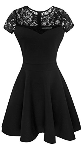 Sylvestidoso Women's A-Line Pleated Short Sleeve Little Cocktail Party Dress with Floral Lace (S, Black)