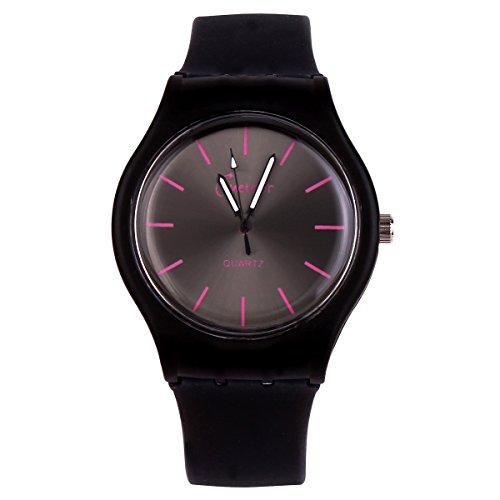 Pure Colour Fashion Jelly Silicone Strap Band Analog Dial Quartz Wrist Watch Black