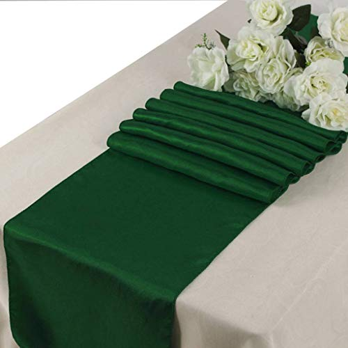 mds Pack of 10 Wedding 12 x 108 inch Satin Table Runner for Wedding Banquet Decoration- Hunter Green