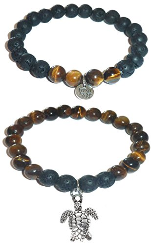 Hidden Hollow Beads Charm Tigers Eye and Black Lava Natural Stone Women's Yoga Beaded Stretch Bracelet Set. COMES IN A GIFT BOX! (Turtle)