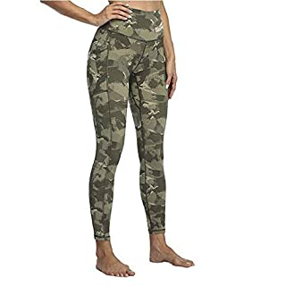 Generic Brands Anderqueen High Waisted Yoga Leggings with Pockets Tummy Control Yoga Pants for Women (Camo Green, L)