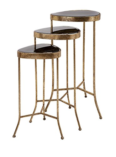 IMAX 65162-3 Harlow Black Mirror Nested Table - Set of 3 by Imax