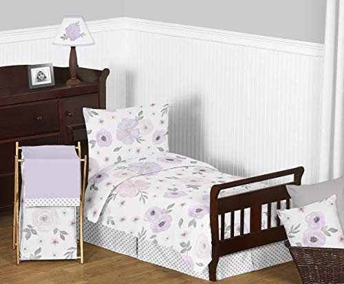 (Sweet Jojo Designs Lavender Purple, Pink, Grey and White Shabby Chic Watercolor Floral Girl Toddler Kid Childrens Bedding Set - 5 pieces Comforter, Sham and Sheets - Rose Flower Polka Dot)