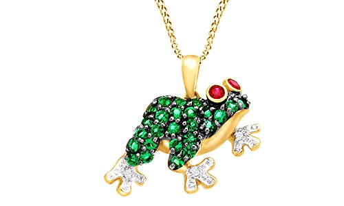 Simulated Ruby, Emerald & White Natural Diamond Accent Frog Pendant in 10K Yellow Gold (5/8 cttw)