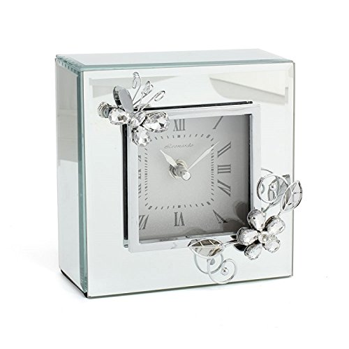 Lesser & Pavey Crystal Mirror Butterfly Clock, Silver, 15 x 6 x 15 cm Lesser & Pavey Ltd LP40575A