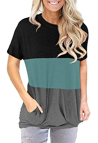 onlypuff Pocket Shirts for Women Casual Loose Fit Tunic Top Baggy Batwing Sleeve Comfy Tee Shirt