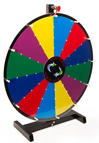 Metal Spinning Wheel - Displays2go Write-On with Dry Erase Illuminated Tabletop Prize Wheel, 24-Inch
