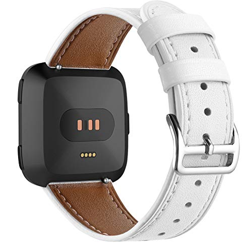 DBoer Leather Watch Band Compatible with Fitbit Versa Bands Vintage Genuine Leather Wristband Adjustable Replacement Accessories Straps with Metal Buckle for Fitbit Versa Watch Band White