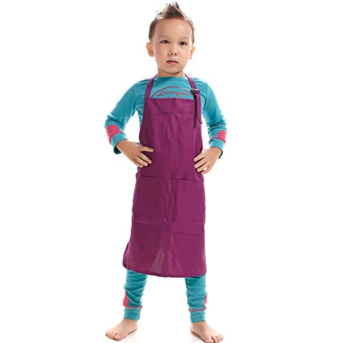 LissomPlume Unisex Kids Art Smock Children Painting Bib Apron Craft Wear Kit with 2 Roomy Pockets for Kitchen Classroom ()