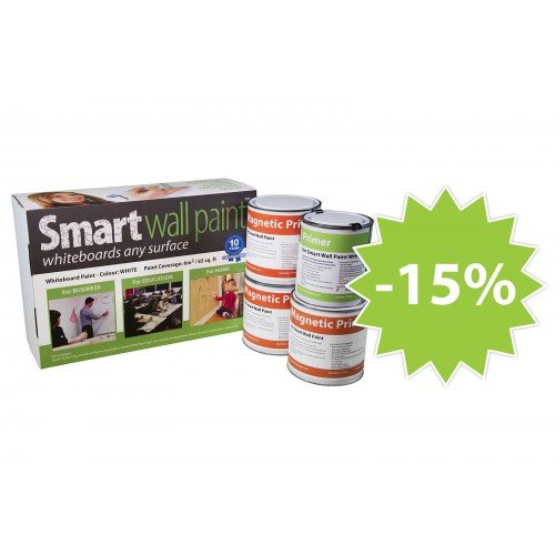 Magnetic Dry-Erase Paint Kit: 194sq. ft. / 18m² White by Smarter Surfaces