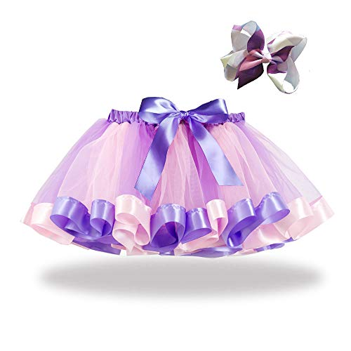 WOCACHI Girls Kids Tutu Party Dance Ballet Toddler Baby Costume Skirt+Bow Hairpin Set Back to School Father's Day Children's Day July 4th Pregnant Woman Mini -