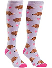 Hedgehog Heaven Womens Knee Socks, Lavender, Women's shoe 5-10