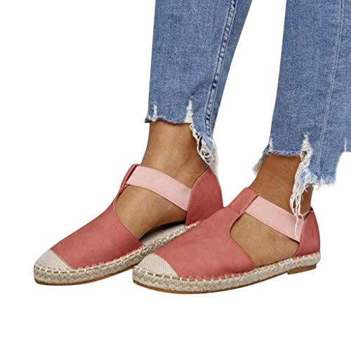 Women's Large Size Elastic Band Sandals - POHOK Women Retro Low Flat Sandals Round Toe Casual Shoes (Pink,43) from POHOK
