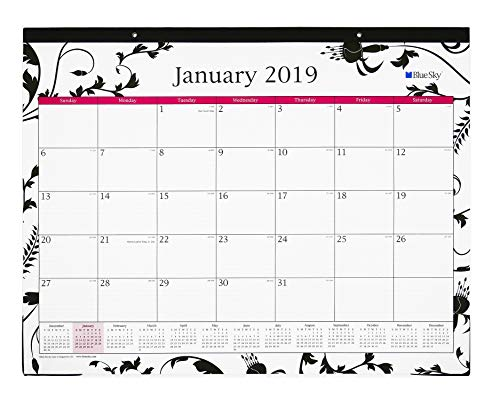 Blue Sky 2019 Monthly Desk Pad Calendar, Ruled Blocks, 22