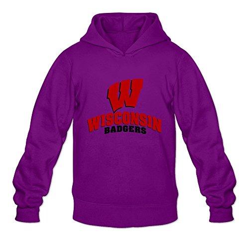 Wisconsin Badgers VAVD Man's 100% Cotton Hoodies Purple Size M