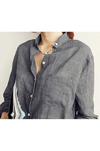 lgant Grey Longues Dcontract Haut Blouse Femme Mode Office Jeune Revers Simple Bouffant Shirt Tops Automne Printemps Boutonnage Chic Chemise Manches Uni Manche w0EqA1