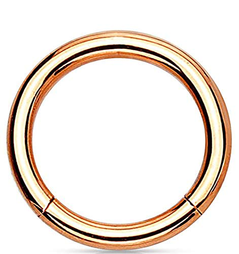 - 14G 12mm Surgical Steel Hinged Easy Use Seamless Hoop Body Piercing Ring, Rose Gold Tone