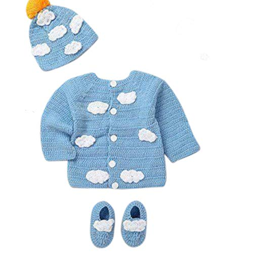 - Newborn Cozy Warm Baby Sweater Set -Hand Made Baby Crochet Outfit Set -Pink/Blue Knit Cardigan with Booties & hat Gift Set (0-6 Month, Blue White)