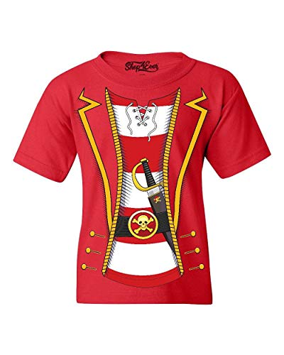 (Shop4Ever Pirate Buccaneer Costume Stripe Youth's T-Shirt Youth Large Red 0)
