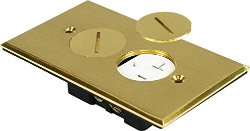 Orbit FLB-R1G-C-BR Electric Floor Box, Round Plug Type Cover Only Duplex - 1-Gang - Brass