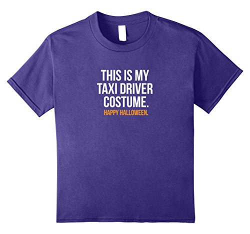 Taxi Driver Costume For Kids (Kids This is my Taxi Driver Costume Funny Halloween Tee Shirt 8 Purple)